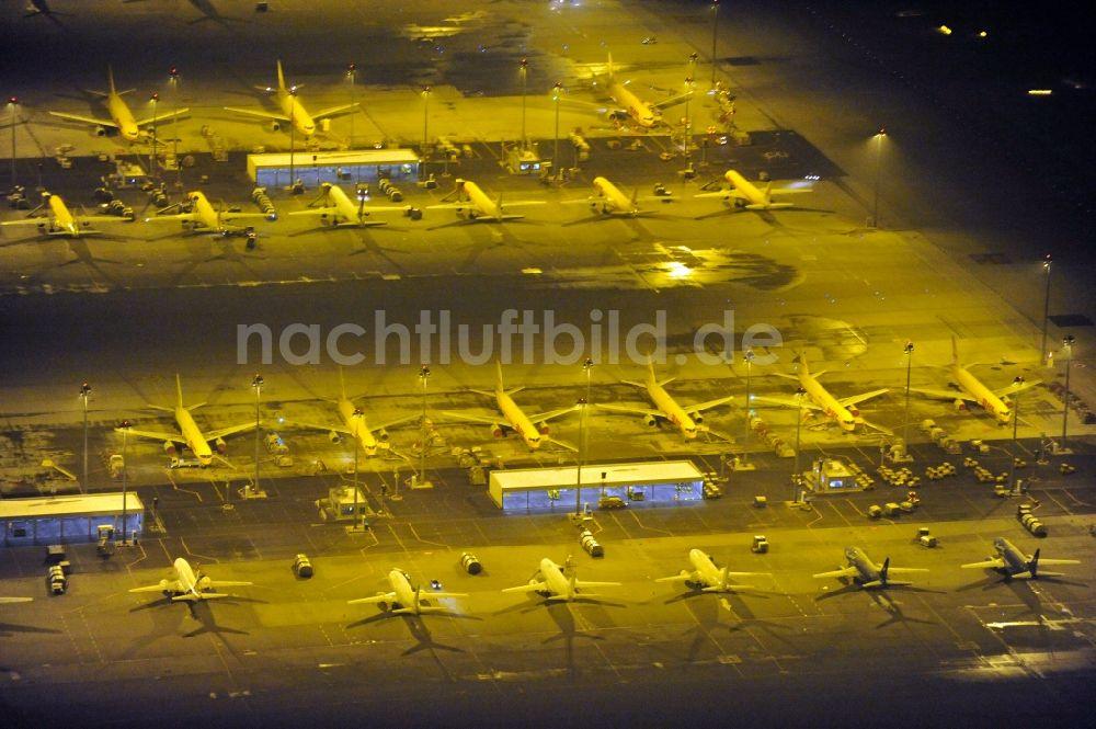 Nachtluftbild Leipzig Schkeuditz Flughafen Des Dhl Hub Leipzig