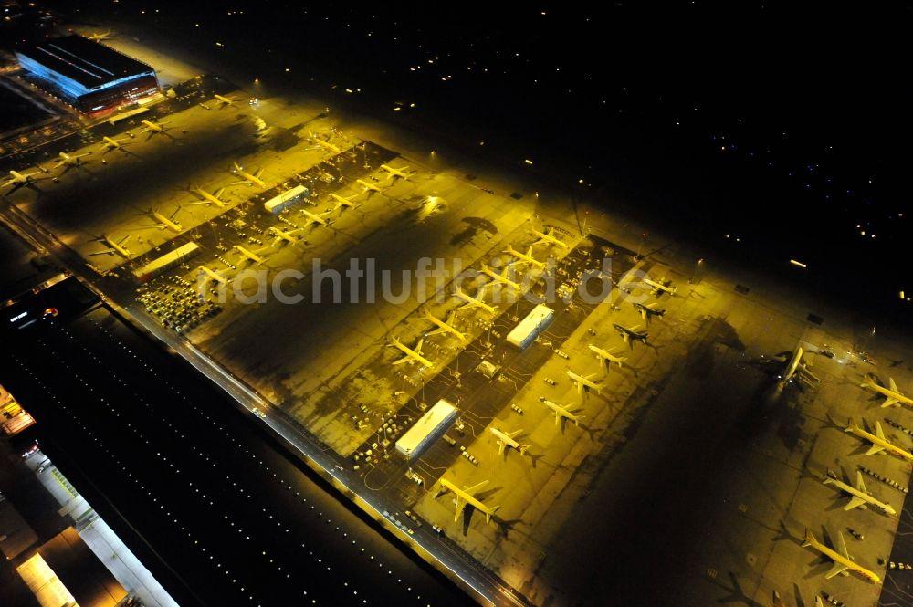 Nacht Luftaufnahme Leipzig Schkeuditz Flughafen Des Dhl Hub