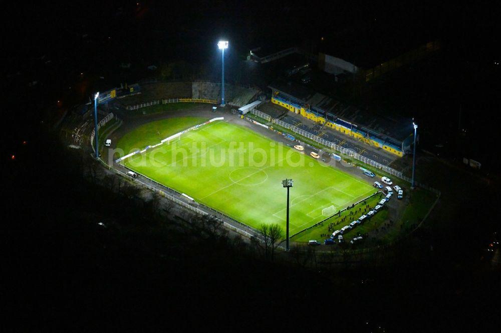Leipzig Bei Nacht Von Oben Nachtluftbild Fussballstadion