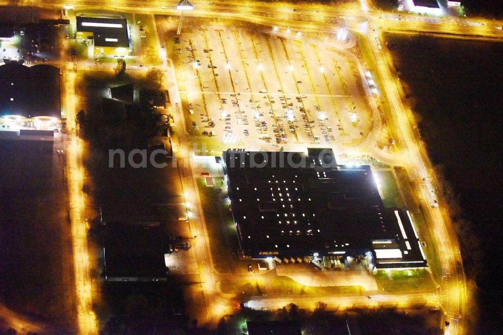 Rostock Bei Nacht Von Oben Nachtluftbild Gebäude Des