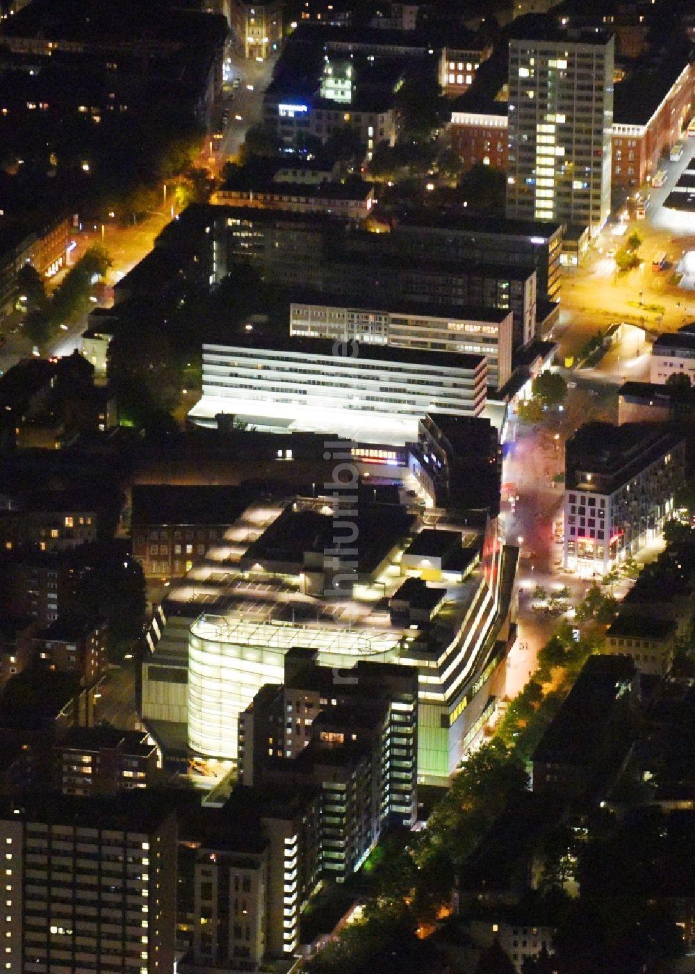 Hamburg Bei Nacht Von Oben Nachtluftbild Gebäude Des