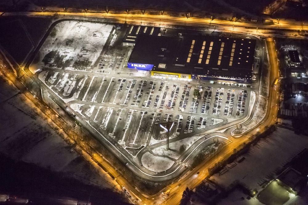 Duisburg Bei Nacht Aus Der Vogelperspektive Nachtaufnahme Vom Ikea